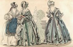 Early [Victorian] Era Fashion Plate - October 1840 Godey's Lady's Book  BISHOP sleeves on all three dresses.