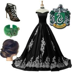 slytherin outfit for girls - Bing images Harry Potter Dress, Harry Potter Style, Harry Potter Outfits, Ball Dresses, Ball Gowns, Prom Dresses, Estilo Megan Fox, Bijoux Harry Potter, Slytherin Clothes