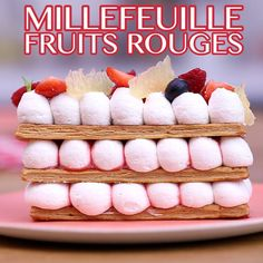 Mille-feuille with red fruits- Crepes, Fancy Desserts, Delicious Desserts, Best Dishes, Food Dishes, Eclairs, Fruit Recipes, Gourmet Recipes, Fruit Calories