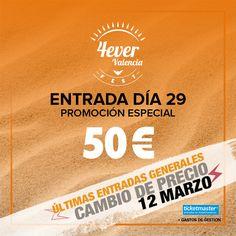 Vuestra acogida a 4everValenciafest está siendo tan espectacular que anunciamos las últimas entradas generales para el día 29 con precio de promoción de lanzamiento hasta el día 12 de marzo. A partir del próximo lunes, cambiamos el precio. ¡¡Y el cambio en el día 30 está también al caer!!  29 y 30 de junio. Vuelve a soñar con 4everValenciafest, mucho más que un festival.  Entradas en Ticketmaster  #4everValenciaFest #4evers #Valencia #festival