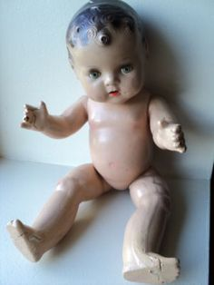 antique old toy baby doll