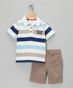 Take a look at this White & Blue Stripe Polo & Shorts - Infant & Toddler by Calvin Klein on #zulily today!