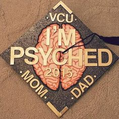 Psychology Graduation Cap Decorations for majors in psychology to find inspiration in designing their graduation caps! I'm psyched is the most popular. Graduation Cap Designs, Graduation Cap Decoration, Graduation Diy, Graduation Pictures, Graduation Photoshoot, Grad Pics, Graduation Quotes, Graduation Announcements, Graduation Invitations