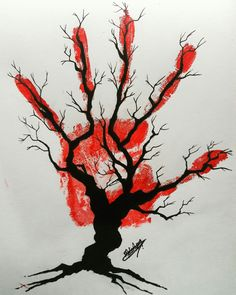 Blood and tree drawing