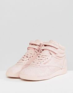 Reebok Classic Freestyle High Top Sneakers In Pink