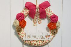 Spring Wreath Burlap Wreath Clothespin Picture Display