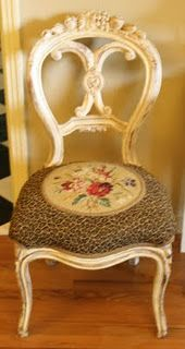 Old White needlepoint chair