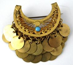 Turkish Dangling Discs Brooch Persian Turquoise 1967 Middle Eastern Harem Boho Cannetille by JewelryDiscoveries on Etsy
