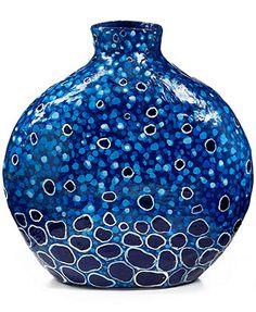 Heart of Haiti Papier Mache Blue Circles Vase