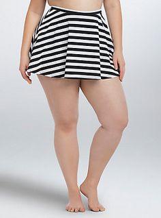 Plus Size Striped Skater Skirt Swim Bottom, BLACK-WHITE STRIPE
