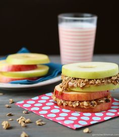 Apple Sandwiches With Almond Butter and Granola | 21 High-Protein Snacks To Eat When You're Trying To Be Healthy