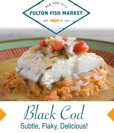 Black Cod is high in long-chain Omega 3 fatty acids, just about as much as wild salmon. It's also a good source of Vitamin A and Iron. Another healthy catch from the Fulton Fish Market! Black Cod, Sources Of Vitamin A, Omega 3, Fulton, Healthy Eating, Iron, Fish, Chain, Breakfast