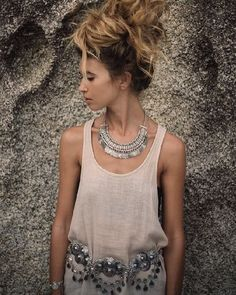 Stunning pic from the beautiful @alisa.belochkina wearing our Silver Coin Necklace & Kathmandu Belt ॐ www.ohmboho.com ॐ
