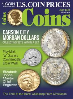 Since its inception, in 1955, Coins magazine has been a hobby leader in providing collectors with important and timely information key to making wise decisions on what to collect and how to collect. With monthly contributions from leading hobby experts, it\'s your one-stop hobby source. Get market trends, buying techniques, and historical perspectives on all aspects of coins (numismatics). Each issue delivers in-depth analysis, up-to-the-minute valuations, answers to all of your coin questions a Wise Decisions, Carson City, Price Guide, Coins, Ebooks, Market Trends, Silver Dollar, Digital, Magazines