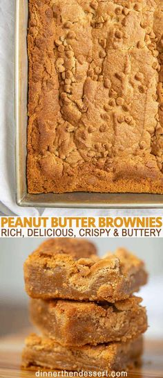 Peanut butter brownies are rich, delicious, crispy and buttery brownies with peanut butter filling and peanut butter chips in just 45 minutes! Desserts The BEST Ever Peanut Butter Brownies - Dinner, then Dessert Peanut Butter Filling, Peanut Butter Desserts, Peanut Butter Chips, Peanut Recipes, Brownies With Peanut Butter, Peanut Butter Blondies Recipe, Peanut Brownies, Peanut Butter Cookie Bars, Nutter Butter