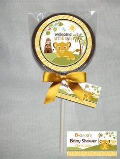 Baby Lion King Baby Shower Personalized Chocolate Lollipop or Cookie | PartiesRPersonal - Edibles on ArtFire