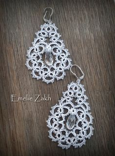 Free shipping.Exclusive Earring  is tatting.Unique by Emeliebeads