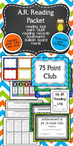 AR Reading Packet - Accelerated Reader Resource Packet. Includes Reading Logs, Point Club Posters, Award Certificates, Bulletin Board, Bookmarks and More! Both color and B/W options for printing. This is perfect for AR in my classroom! LOVE!
