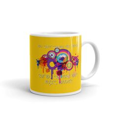 Can't Change The World - Yellow Mug. Whether you're drinking your morning coffee, your evening tea, or something in between – this mug's for you! It's sturdy an Yellow Mugs, Change The World, Morning Coffee, Drinking, Cups, Ceramics, Make It Yourself, Tea, Canning