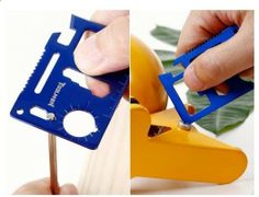 Universal Outdoor Camping Survival Card Tool... Might as well get it, stash it in your bag, and be happy you have it that one time you need a can opener, or screw driver, or something to throw at your annoying friend... #camping #tools #outdoors