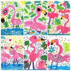 Flamingos getting ready for summer! Summer Art Projects, School Art Projects, Kindergarten Art, Preschool Art, First Grade Art, Animal Art Projects, Flamingo Art, Ecole Art, Spring Art