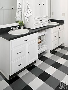 How to Paint Buffalo Check Vinyl Flooring Give your master bath a makeover with a decorative paint treatment that disguises—get this—sheet vinyl flooring. Painted Bathroom Floors, Vinyl Flooring Bathroom, Painted Vinyl Floors, Bathroom Niche, Bedroom Flooring, Bathrooms, Bathroom Ideas, Pool Bathroom, Bathroom Stuff