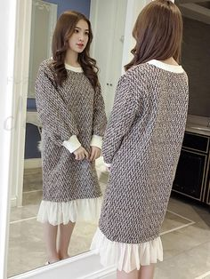 New Fall Winter Neck Long Sleeve Lace Switching Outstanding dating dress 13084433 - Date dresses - Doresuwe.Com