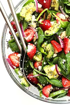 Delicious avocados and strawberries combine in this easy fresh spinach salad with a yummy poppyseed vinaigrette from Gimme Some Oven.