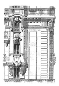 Competition facades in Paris. Architect Rabier. The architecture of the second half of the XIX century. Drawings and sketches.