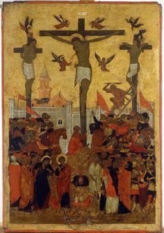 The crucifixion of the Lord. Ancient icons of Jesus Christ Byzantine Icons, Byzantine Art, Religious Images, Religious Art, Jesus In The Temple, Christian Artwork, Orthodox Icons, Sacred Art, Renaissance Art