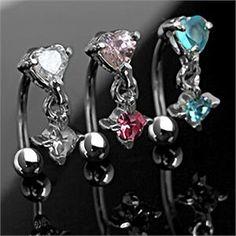 Heart Shape CZ 16g Drop Down Dangle Eyebrow Ring Barbell Curve Body Jewelry