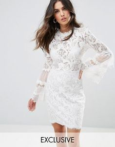 f06d917c8fc1 Lioness Allover Lace Dress With Fluted Sleeve Detail Long Sleeve Midi Dress