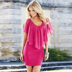 Elegante vestido sexy primavera verano color rosado, disponible talla S, L y XL