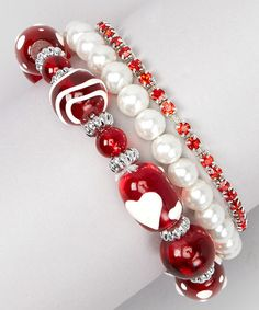 Look what I found on #zulily! White Pearl & Red Bead Stretch Bracelet Set by Buffalo Jewelry #zulilyfinds