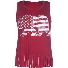 FULL TILT Americana Bear Girls Fringe Tank 245433320 | Graphic Tees & Tanks | Tillys.com