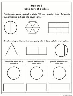 Fractions Worksheets These fraction worksheets are organized in a progression, so the worksheets gro Math Fractions Worksheets, 3rd Grade Math Worksheets, Shapes Worksheets, Free Math Worksheets, Teacher Worksheets, School Worksheets, First Grade Math, Missing Number Worksheets, Symmetry Worksheets