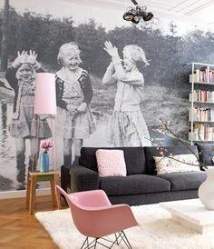 Custom wallpaper. I love this idea for kids bedroom
