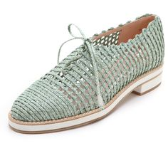Stuart Weitzman Jazzygirl Twine Oxfords (4,325 MXN) ❤ liked on Polyvore featuring shoes, oxfords, flats, mint, mint green shoes, woven flats, flat platform shoes, summer shoes and rubber shoes