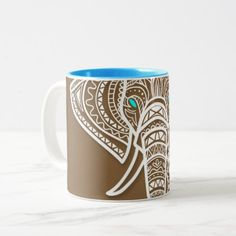 Looking  Elephant - Mandala  Style Two-Tone Coffee Mug - home gifts ideas decor special unique custom individual customized individualized
