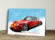 Excited to share this item from my #etsy shop: Porsche Targa Christmas cards, Porsche Greeting cards, Merry Christmas red Porsche cards, set of 10 Christmas cards
