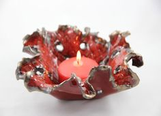 Stoneware Clay Candle Holder  Ceramic Pottery by SueDicksonGallery