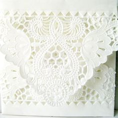 White lace envelopes 6 in square, hand made QTY 25 fancy white lace romantic wedding invitation envelopes