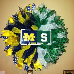 House Divided Wreath, MSU vs U of M wreath, Sport Wreath on Etsy, $68.00