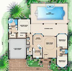 First Floor Plan of Florida   Mediterranean   House Plan 60497