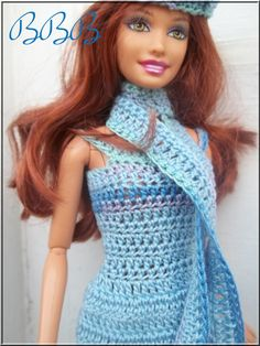 Barbie Clothes Crochet Dress Blue Sundress by BarbieBoutiqueBasics