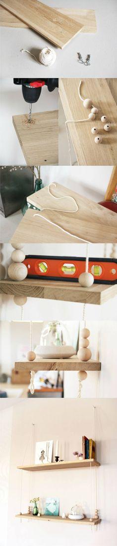 Estantería colgante DIY - tetedange.canalblog.com - DIY Rope Hanging Shelf