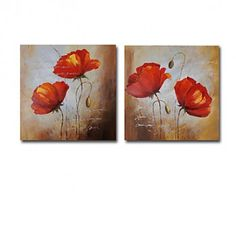 08be89dddb5d Hand-painted Floral Oil Painting with Stretched Frame - Set of 2 -  OutletsArt.