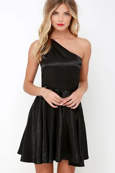 Holiday Attire for those seasonal celebrations - Shining for You Black Satin One Shoulder Dress at Lulus.com!