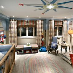 Traditional Boy's Nursery With Compass Rose Ceiling Detail
