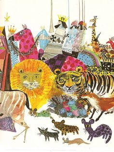 "A Child's Garden of Verses by Robert Louis Stevenson; Illustrations by Brian Wildsmith. 1966.    ""So fine a show was never seen,   At the great circus on the green;   For every kind of beast and man  Is marching in that caravan."""